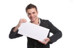 Bedrijfs mens met een lege witte kaart Stock Foto