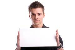 Bedrijfs mens met een lege witte kaart Royalty-vrije Stock Fotografie