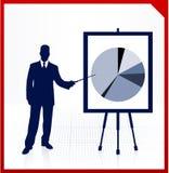 Bedrijfs mens met financieel cirkeldiagram Royalty-vrije Stock Fotografie