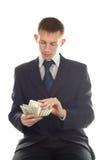 Bedrijfs mens met gelddollars Royalty-vrije Stock Foto