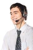 Bedrijfs mens met hoofdtelefoon Stock Afbeeldingen