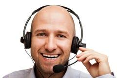 Bedrijfs mens met hoofdtelefoons Stock Fotografie