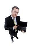 Bedrijfs mens met laptop Stock Foto