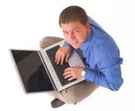 Bedrijfs mens met laptop royalty-vrije stock foto