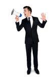 Bedrijfs mens met megafoon Stock Foto