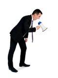 Bedrijfs mens met megafoon Royalty-vrije Stock Afbeelding