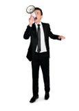 Bedrijfs mens met megafoon Stock Afbeeldingen