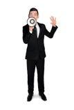 Bedrijfs mens met megafoon Royalty-vrije Stock Afbeeldingen