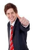 Bedrijfs mens met omhoog duimen Stock Fotografie