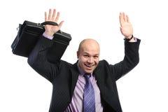 Bedrijfs mens met omhoog wapens Royalty-vrije Stock Fotografie