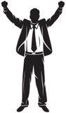 Bedrijfs mens met omhoog wapens Stock Afbeeldingen