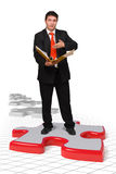 Bedrijfs mens met oplossingen Stock Afbeelding