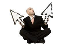 Bedrijfs Mens met Pijlen Stock Foto