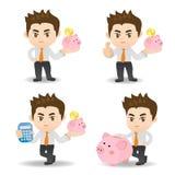 Bedrijfs mens met spaarvarken Stock Fotografie