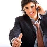 Bedrijfs mens met telefoon Stock Afbeelding