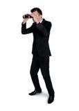Bedrijfs mens met verrekijkers Royalty-vrije Stock Afbeeldingen