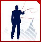 Bedrijfs mens op achtergrond met financiële vergelijking Royalty-vrije Stock Foto