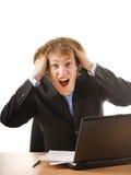 Bedrijfs mens in paniek Stock Foto