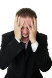 Bedrijfs mens in paniek Stock Afbeeldingen