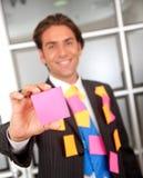 Bedrijfs mens - post-its Royalty-vrije Stock Afbeelding
