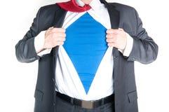 Bedrijfs Mens Superhero Stock Afbeeldingen