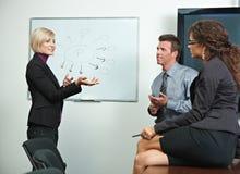 Bedrijfs mensen die in bureau brainstoming Royalty-vrije Stock Foto