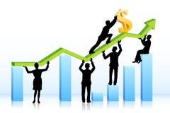 Bedrijfs mensen die Dollar op Grafiek duwen Stock Afbeeldingen