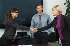 Bedrijfs mensen die handen schudden Stock Afbeelding