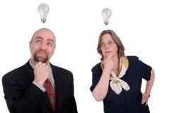 Bedrijfs mensen die ideeën krijgen Stock Foto's