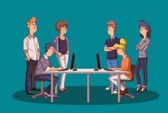 Bedrijfs mensen die met computer werken Bureauwerkruimte met bureaus vector illustratie