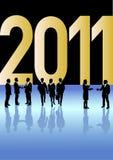 Bedrijfs mensen die Nieuwjaar 2011 vieren Royalty-vrije Stock Afbeelding