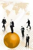 Bedrijfs mensen en aardesymbool stock illustratie