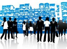 Bedrijfs mensen en gebouwen royalty-vrije illustratie