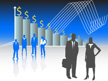 Bedrijfs mensen en grafiek stock illustratie
