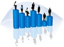 Bedrijfs mensen en grafiek vector illustratie