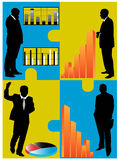 Bedrijfs mensen en grafiek Stock Afbeeldingen