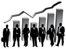 Bedrijfs mensen en grafiek Stock Foto