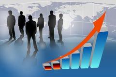 Bedrijfs mensen en het groeien grafiek Royalty-vrije Stock Afbeeldingen