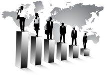 Bedrijfs mensen en kaart royalty-vrije illustratie