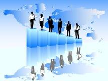 Bedrijfs mensen en kaart stock illustratie