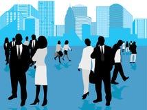 Bedrijfs mensen en panorama o Stock Afbeeldingen