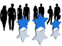 Bedrijfs mensen en sterren Stock Foto's