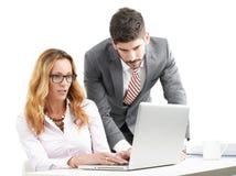 Bedrijfs mensen met laptop Stock Foto