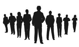 Bedrijfs mensen met leider Stock Afbeelding