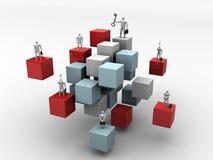 Bedrijfs mensen op 3d abstracte kubusachtergrond royalty-vrije illustratie