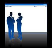 Bedrijfs mensen op achtergrond met Webbrowser Stock Afbeeldingen
