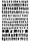 Bedrijfs mensen, verschillende silhouetten Stock Fotografie