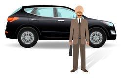 Bedrijfs mensenconcept Indische zakenman die zich op een achtergrond van de luxeauto bevinden Stock Afbeeldingen