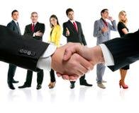 Bedrijfs mensenhanddruk en bedrijfteam Royalty-vrije Stock Afbeeldingen
