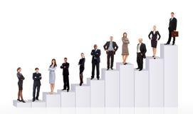 Bedrijfs mensenteam en diagram Royalty-vrije Stock Afbeeldingen